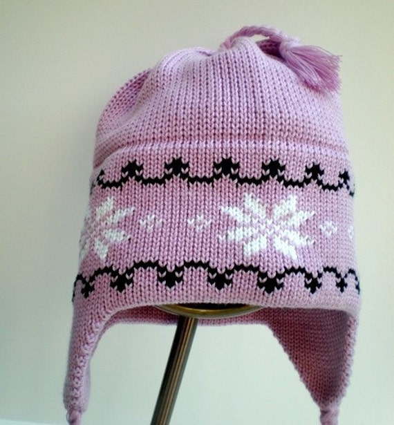 Knit Kids Purple Hat Orgainc Cotton in Lilac with White Snowflakes and Black Tyrolean Trim Helmet Style with Earflaps