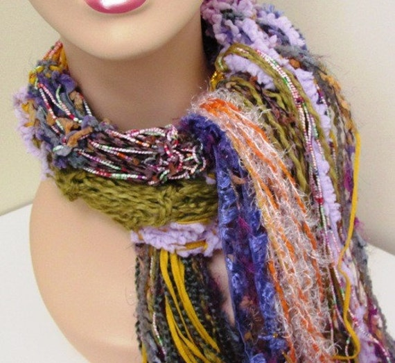 Confusion Hand Knit Scarf with Bountiful Fringe Colors and Textures Purple Gold Orange Plus More