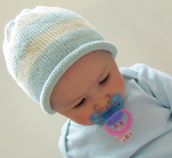 Cotton Hat Cute Baby Cap Handmade Knit Infant Baby Cap Soft  Blue and Off White Roll Brim Beanie