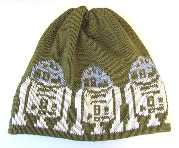R2D2 Knit Hat For the Guy in a galaxy far far away Olive Green Silver Grey and Off White Organic Cotton
