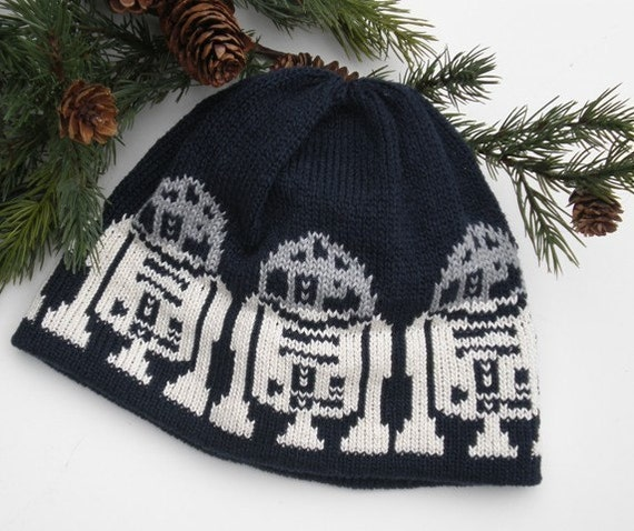 Knit Hat For the Man in a galaxy far far away Darkest Navy near Black Gray Off White Cotton