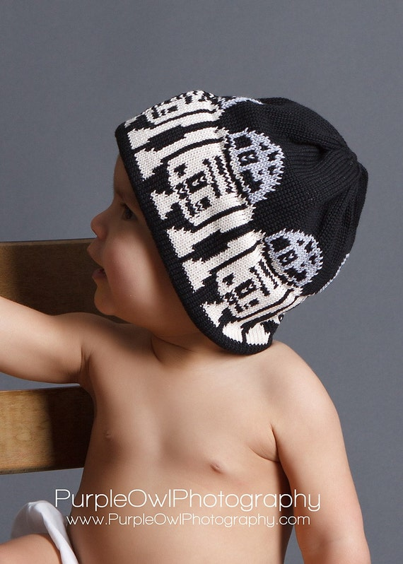 R2D2 Hat For the Child in a galaxy far far away Black Silver Off White ORGANIC Cotton Photo by Purple Owl Photography