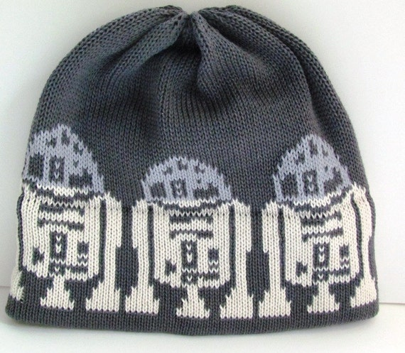 R2D2 Knit Hat For the Guy in a galaxy far far away in New Color Charcoal Gray Silver and Off White Organic Cotton