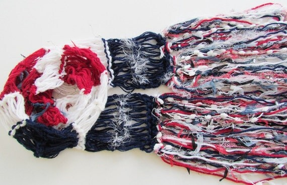 USA Knit Scarf Red, White, Blue Womens Americana Patriotic Olympic Photo Prop Scarves Fourth of July