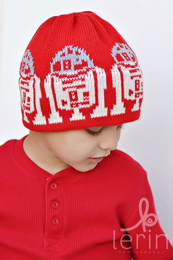 R2D2 Knit Hat For the Kids in a galaxy far far away Valentine Red Off White and Grey Organic Cotton