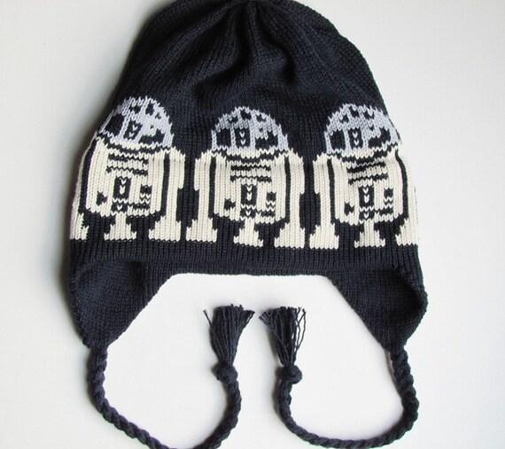 Knit Kids Hat Cotton Handmade Ear Flap Cap in a Galaxy Far Far Away Dark Navy Silver Ecru