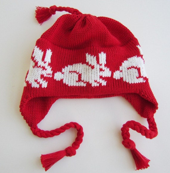 Knit Newborn Hat for Baby EarFlap Cap Organic Cotton in Red and White Easter Bunny Rabbit