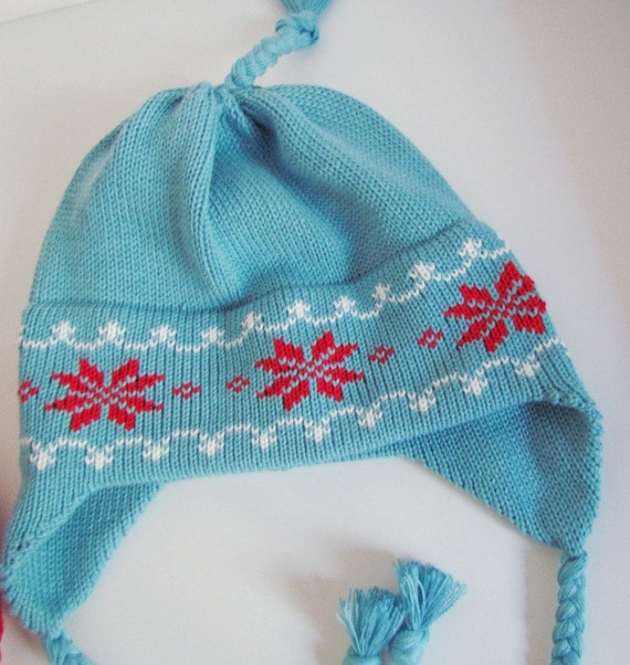 Blue Knit Snowflake Hat Organic Cotton with Earflaps  Blue with Red Flake and White