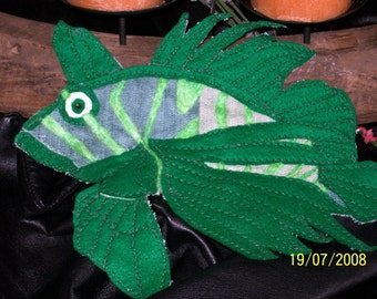 DRAGON FISH-Large Felt and Silk Applique