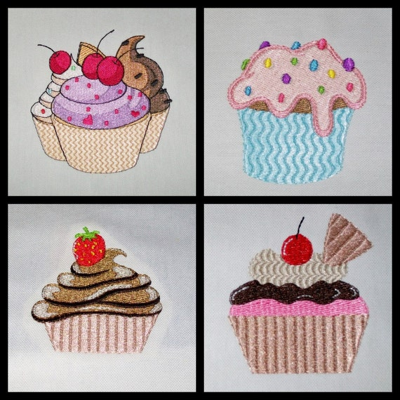 Embroidered White Cotton Tea Towel CUPCAKE Madness Set of 4