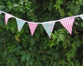 CUSTOMIZED ORDER - Pink Gingham and Aqua Flowers Bunting