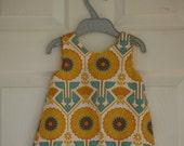 Girls A-Line Dress - Deco Flower & Gingham - 6-9 months