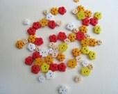 Tiny flower buttons - Sunset - 100 pcs