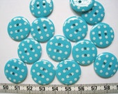 24pcs of  Bright Polka Dot  Button - Teal  - 20mm