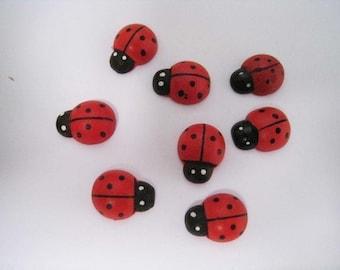 30 pcs of Red Ladybug Wood Cabochon - 11mm