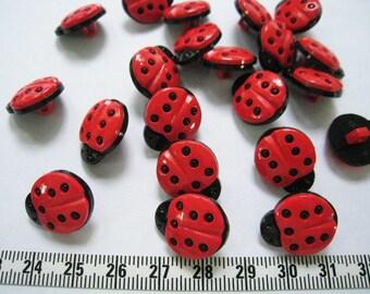 20 pcs of Ladybug Button - 18mm