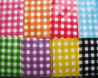 Kawaii gingham plastic gift bags in assorted color - set of 50 bags - 3x5 inch