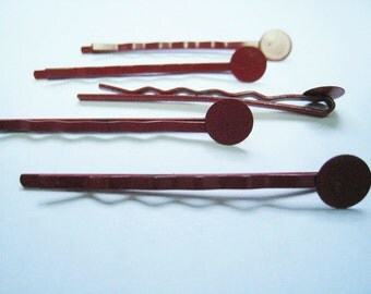 30 pcs of 50 mm Red Bobby Pin with 8 mm Pad