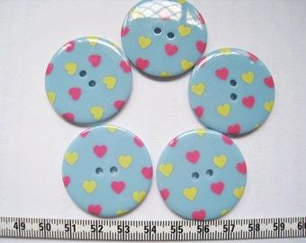 10pcs of 34mm Polka Dot Button -  Heart