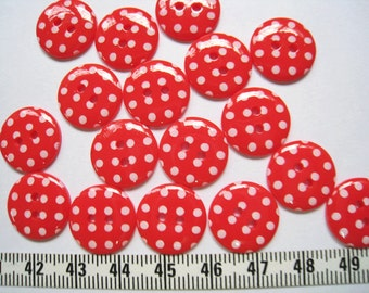 30 pcs of   Bright Polka Dot  Button in Red  - 15mm