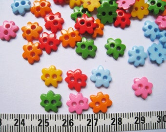 120pcs of Tiny Flower Button - 9mm - pink blue yellow red green orange LAST SET