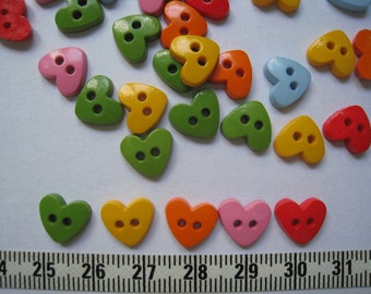 80pcs of Heart Button in 6 Colors Red Pink Blue Green Yellow Orange - 10mm