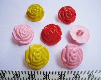 20 pcs of Rose Shank Button - Pink Red Yellow