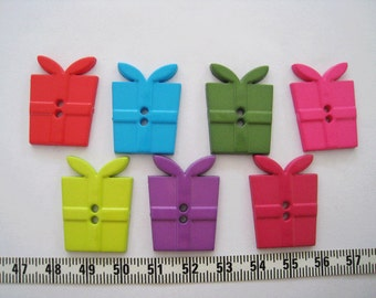 22pcs of Present Button in Green Lime Green Teal Hot Pink Purple - Medium
