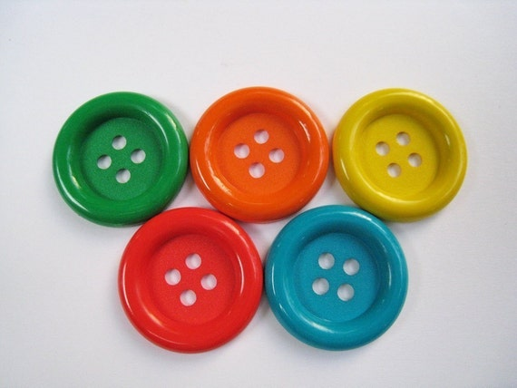20pcs of four holes buttons  - 34mm - Set B - Green Orange Red Yellow Teal