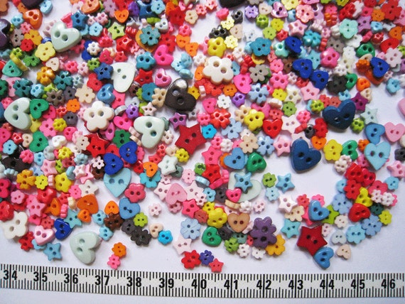 120 pcs of tiny heart flower star buttons  - 5mm to 10mm