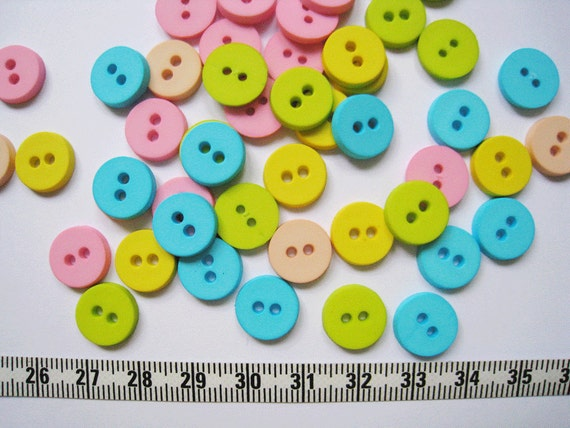 70pcs of  Pastel Button in Green Blue Yellow Pink  - 12mm LAST SET