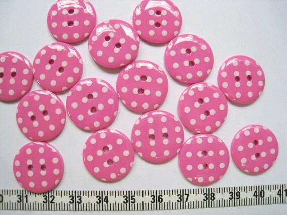 24 pcs of  Bright Polka Dot  Button - Pink  - 20mm