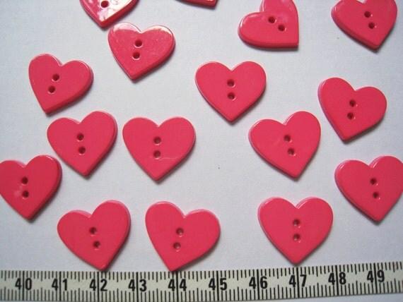 22 pcs of Hot pink Heart Buttons 20mm LAST SET