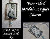 Wedding bouquet Charm, Photo Pendant, Memorial Photo, Bridal keepsake, Picture Frame Charm, Soldered Glass Hand Crafted