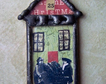 Soldered Glass Christmas Pin Collage Art Glass House
