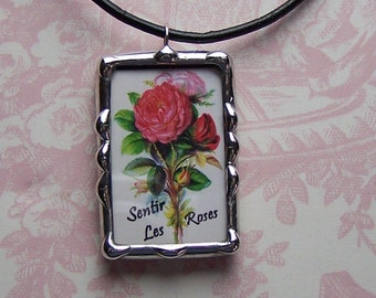 Soldered Art Charm, Keep Calm Carry On Pendant, Two Sided, Soldered Glass Using Stained Glass Technique, Roses, Inspirational Quote Necklace