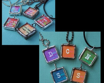Quote Pendant, Soldered Glass Art Charm, Initial Necklace, Personalized Jewelry, Custom Made