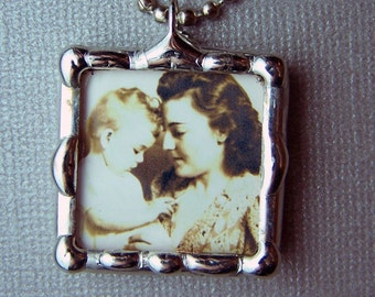 Photo Charm, soldered glass pendant, wedding, personalized gift, custom made