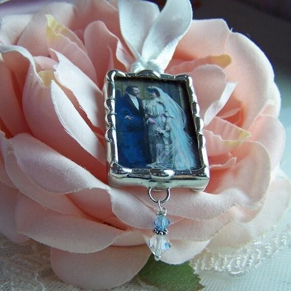Photo memorial wedding bouquet charm soldered glass