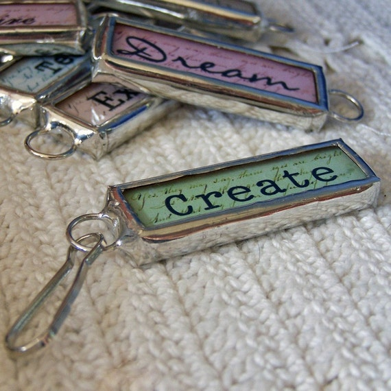 Zipper Pull Word Charm Soldered Glass Two Sided