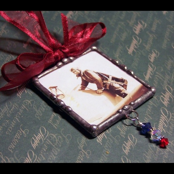 Personalized Photo Ornament, Soldered Glass Custom Made, Honor Your Soldier, Swarovski Charms, Patriotic Keepsake, Memorial Picture