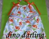 Dino Darling Pillowcase Dress and Matching Bow