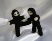 POCKET NINJA Needle Felted Ninja of Tiny Stealthiness