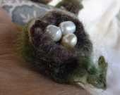 Felted Nest Ring with Freshwater Pearls