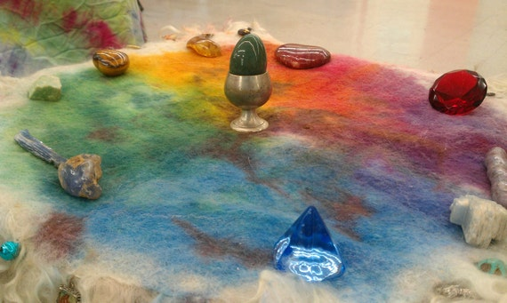 Felted Altar Cloth Table Rug Chakra Wheel Custom Made to Order FREE SHIPPING