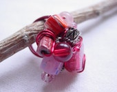 Size 6 1/2 wire wrapped beaded cocktail ring SALE fuschia pink OOAK