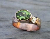 Size 6.5, Ready to Ship, Peridot Hammered 14k Rose Gold Ring
