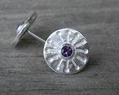 Violet StarBerry, Amethyst Stud Earrings in Argentium Sterling