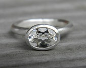 White Topaz Ring in Matte Argentium Sterling Silver, Made in your Size