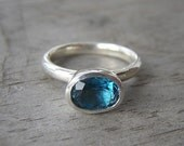London Blue Topaz Solitaire Oval Ring